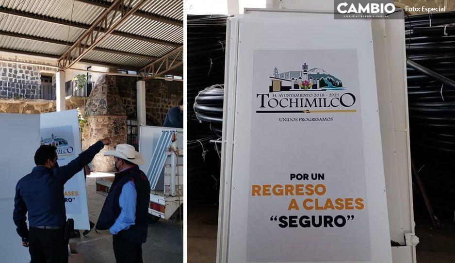 Tras contagios entre alumnos; entregarán arcos sanitizantes en 43 escuelas de Tochimilco
