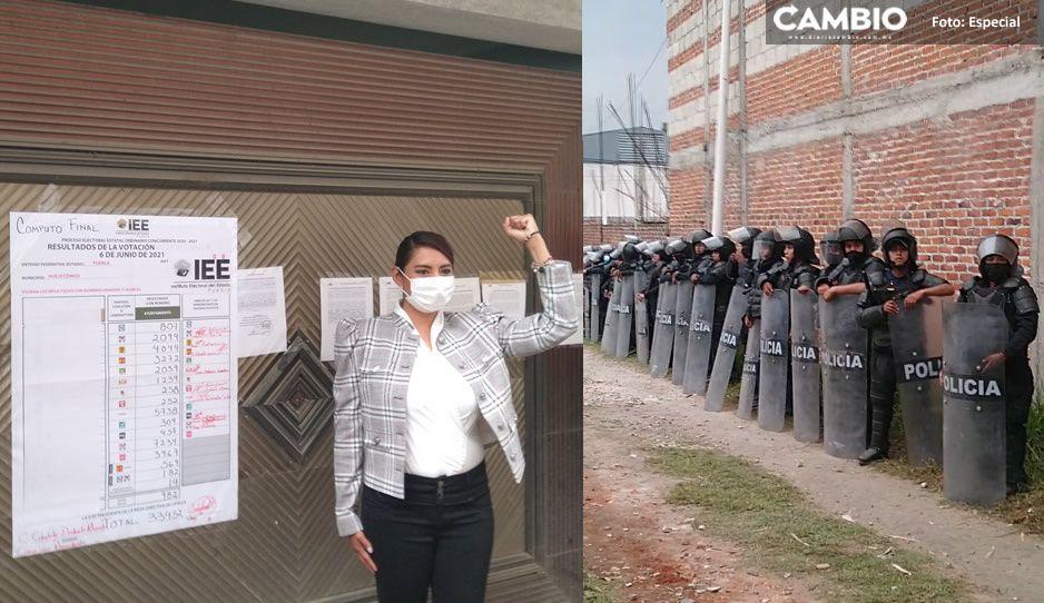 Entre manifestaciones y bloqueos de carretera; Angélica Alvarado recibe su constancia de mayoríaen Huejotzingo