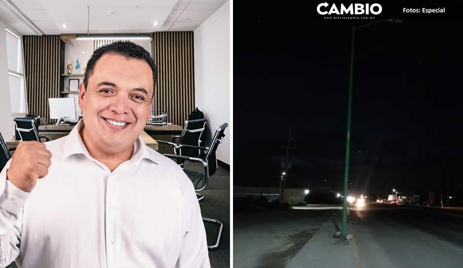 Luminarias que instaló Artemio Caballero en la entrada de la Puebla-Tehuacán no encienden