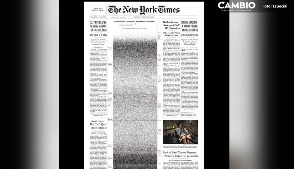 Con desgarradora portada, The New York Times recuerda a las victimas del COVID en EU