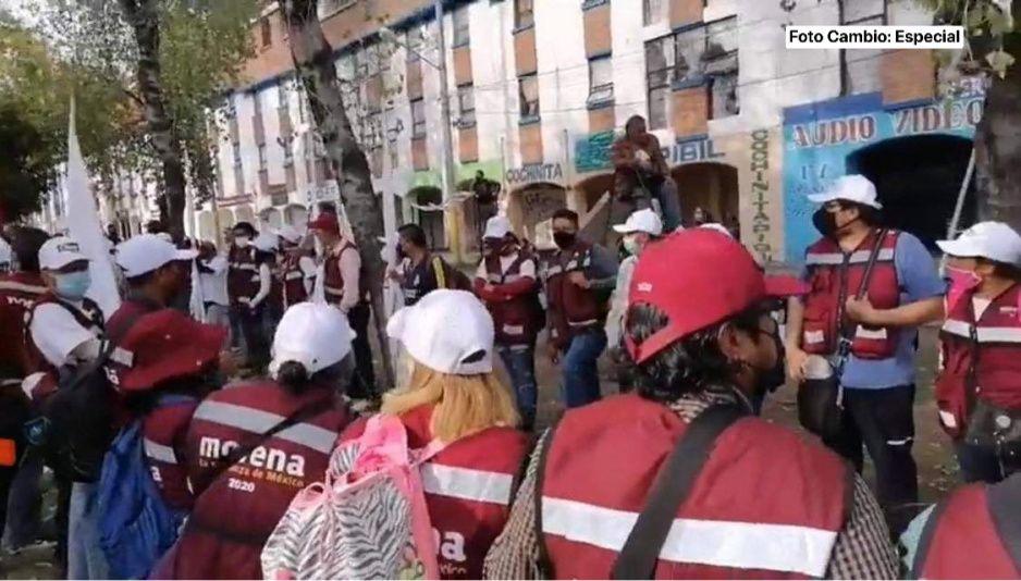 Claudia hace campaña en Amalucan con cordón de seguridad (VIDEO)
