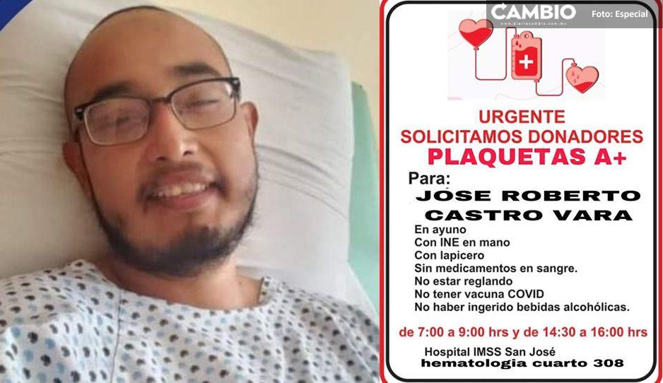 José Roberto, estudiante de Medicina BUAP pide ayuda a los poblanos para luchar vs el cáncer (VIDEO)
