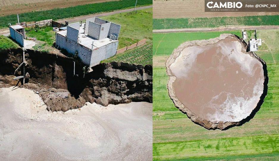 Así se ve la casa de la familia Sánchez desde el aire, con socavón incluido  (FOTOS)