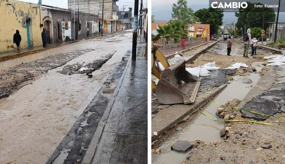 San Gabriel Chilac sufre estragos por lluvias: Árboles caídos, viviendas y calles inundadas (FOTOS)