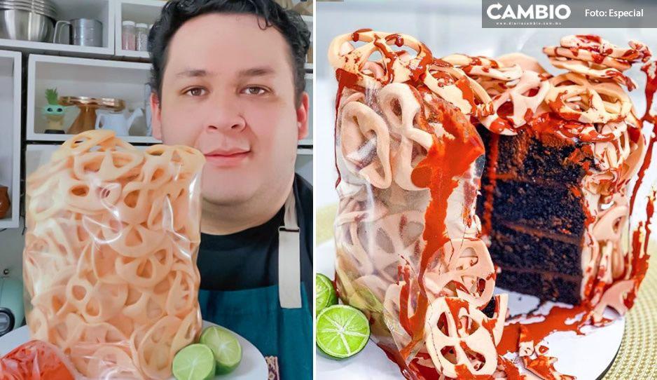 Chef mexicano se hace viral; hace pastel en forma de chicharrones con limón y salsita ¿lo probarías? (VIDEO)