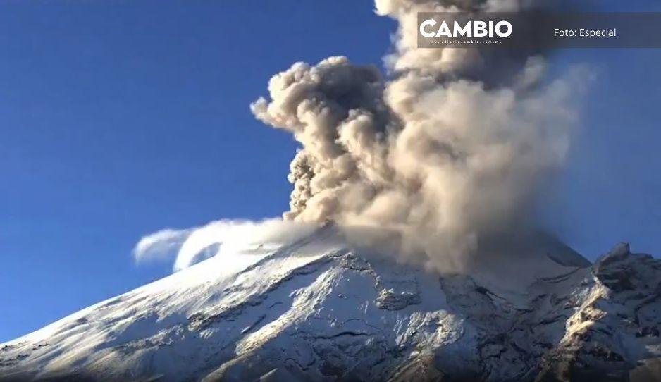 VIDEO: Popocatépetl inicia el jueves con increíble fumarola