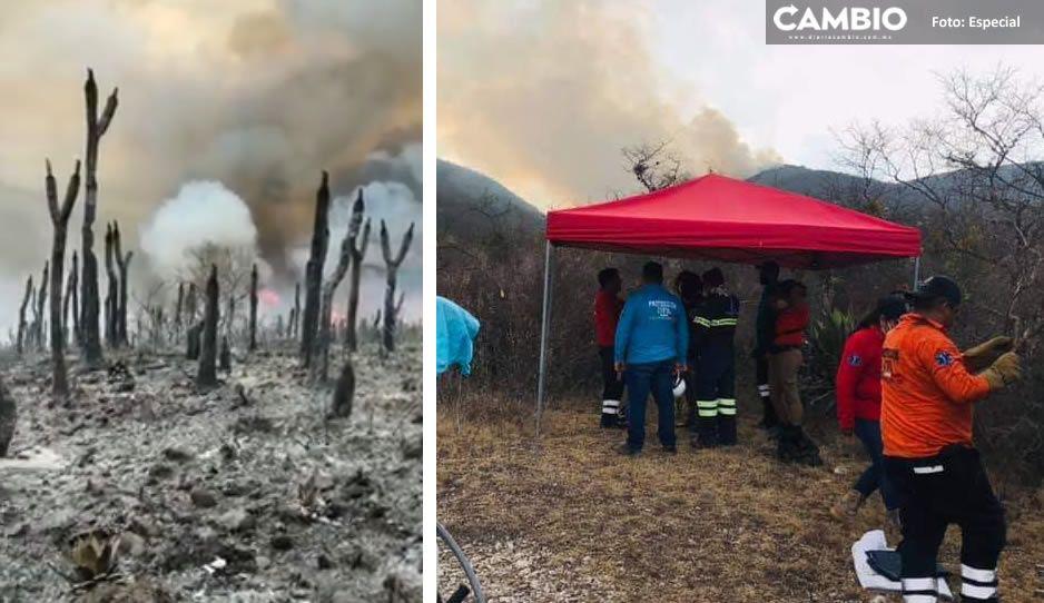 VIDEO: Voraz incendio amenaza cerro de Tlacotepec; urgen apoyo de brigadistas voluntarios
