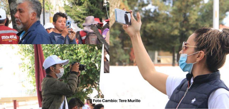 Intimidación vs la prensa no para: brigadistas impiden acercamiento con Claudia en Amalucan (VIDEO)