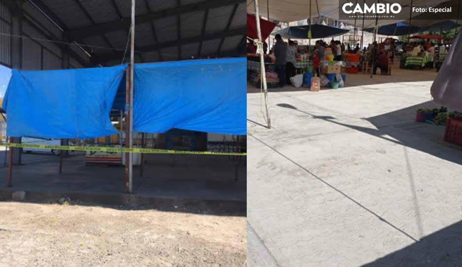 Edil de Huaquechula permite que ambulantes vendan en el centro; los ocultó con lonas y plásticos