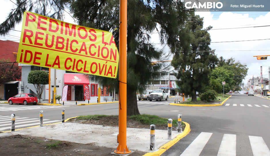 Vecinos de San Manuel vuelven a protestar vs ciclopista de Claudia y acusan obras malhechas (FOTOS)