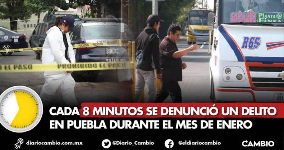 Reloj delictivo: cada 8 minutos se denunció un delito en Puebla durante el mes de enero