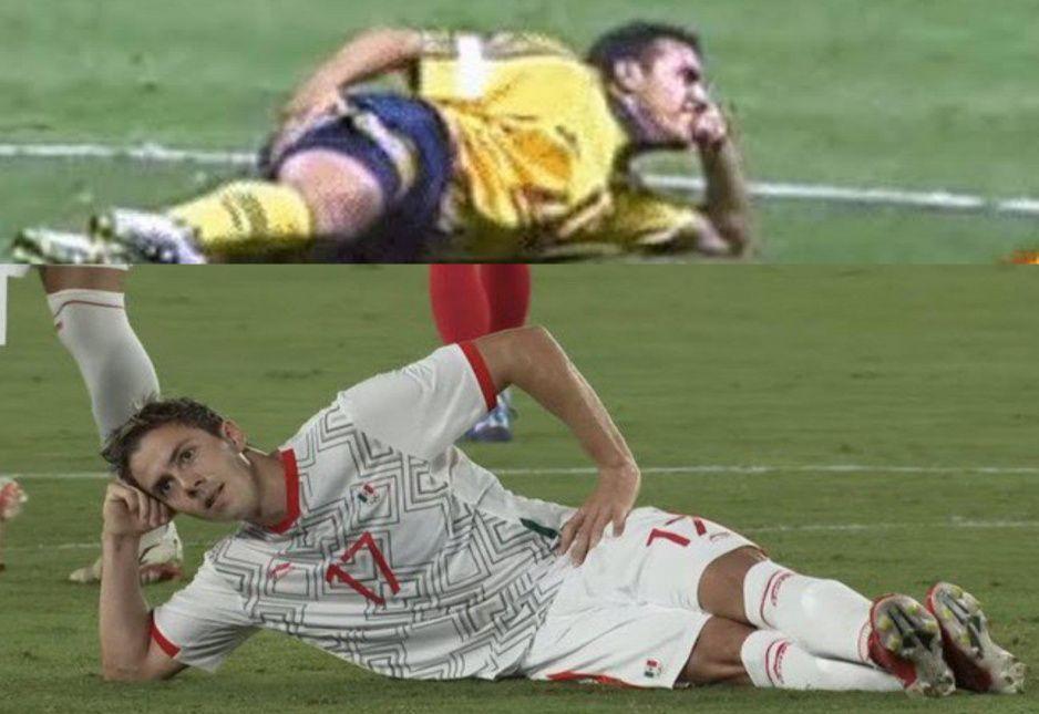 Sebastián Córdova emula a Cuauhtémoc Blanco durante festejo de gol en Tokio