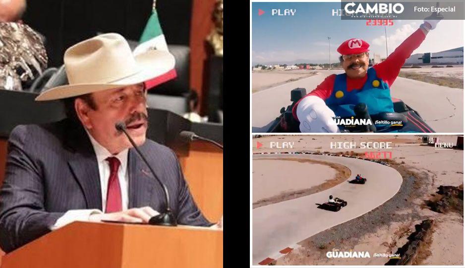 ¡Lo mejor que verás hoy! Candidato de Morena se disfraza de Mario Kart y hace el ridículo (VIDEO)