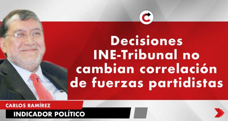 Decisiones INE-Tribunal no cambian correlación de fuerzas partidistas
