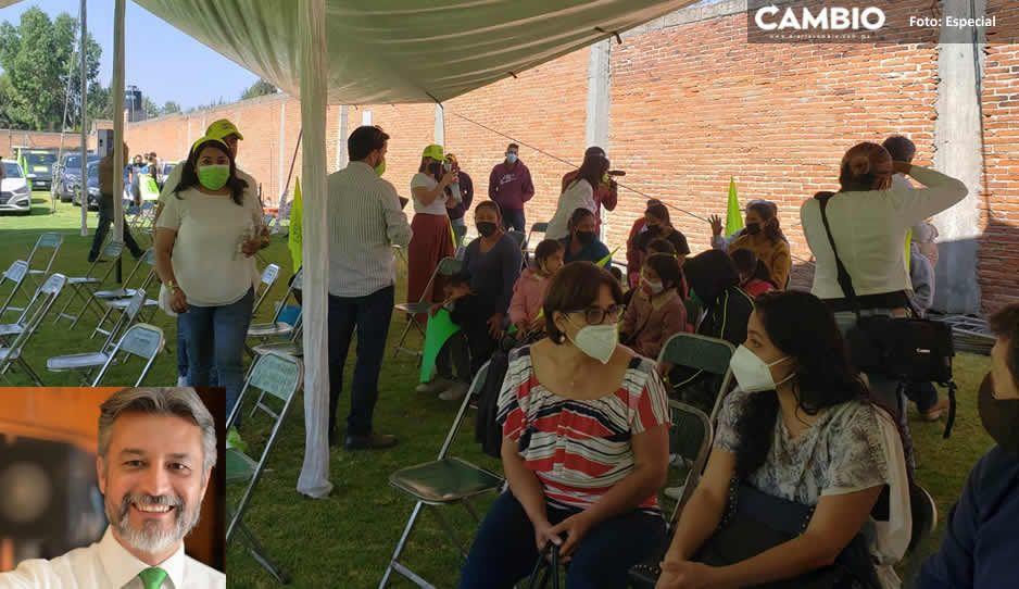 Sin nada de gente; así inicia Felipe Sandoval su campaña en San Andrés Cholula