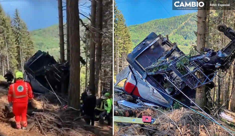 ¡Tragedia! Teleférico colapsa en Italia; deja 13 muertos y dos niños gravemente heridos