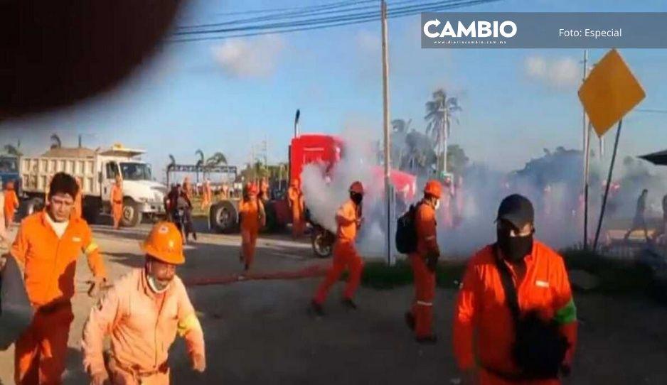 Trabajadores de Dos Bocas reportan ataque durante paro, hay 3 lesionados (VIDEO)