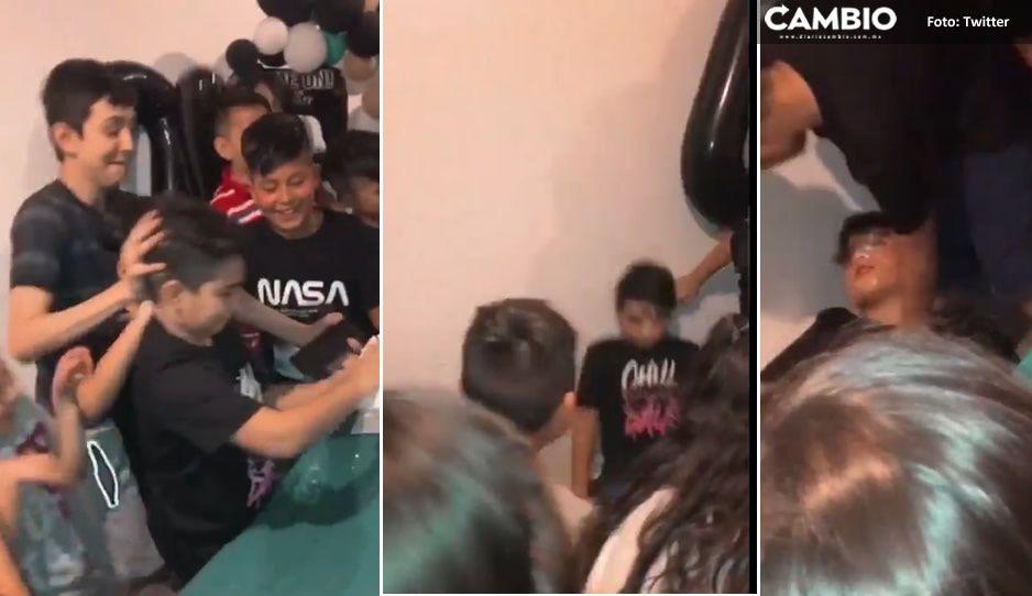 VIDEO: Se hace el muerto cuando lo empujan al pastel y la reacción de su mamá se viraliza