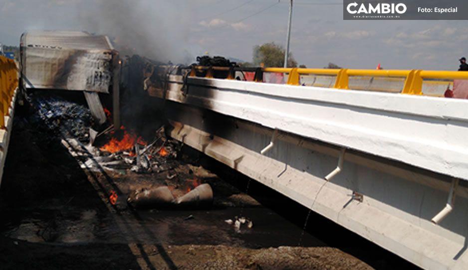 VIDEO: Terrible accidente deja un malherido y provoca el cierre de la autopista México-Puebla