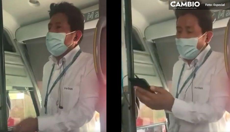 VIDEO: Conductor de E Bus pide dinero a pasajeros para poder pagar caseta de la Atlixcáyotl