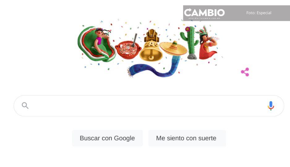 Con china poblana y cohetes tricolor, Google festeja Independencia de México