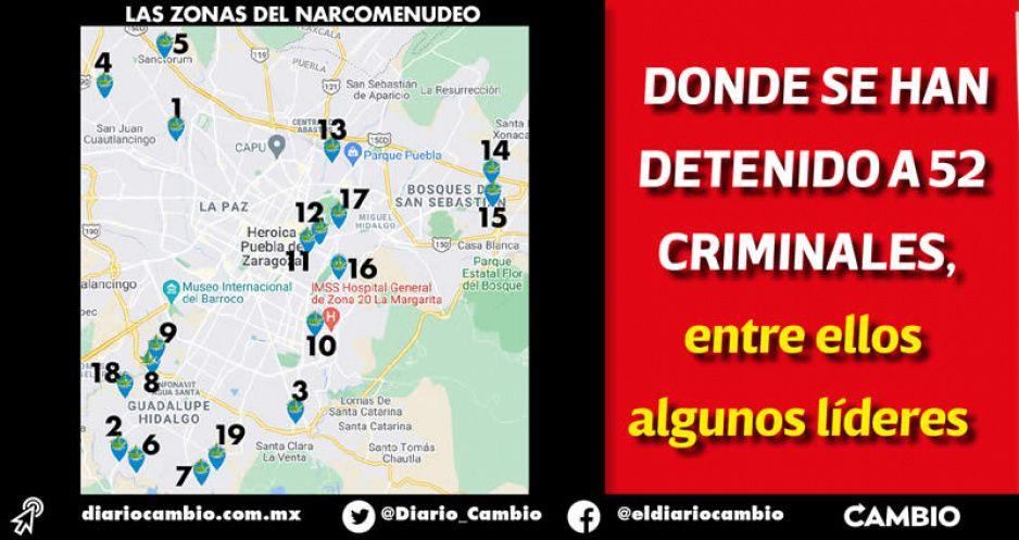 Estas son las 19 colonias más peligrosas de la Angelópolis por narcomenudeo