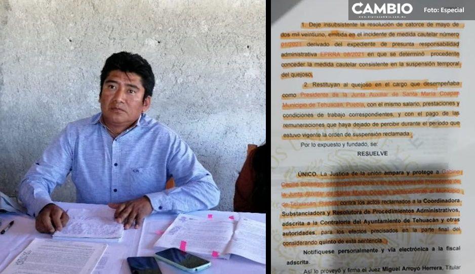 Tras suspensión, juzgado ordena a ayuntamiento de Tehuacán restituir a edil de Santa María Coapan