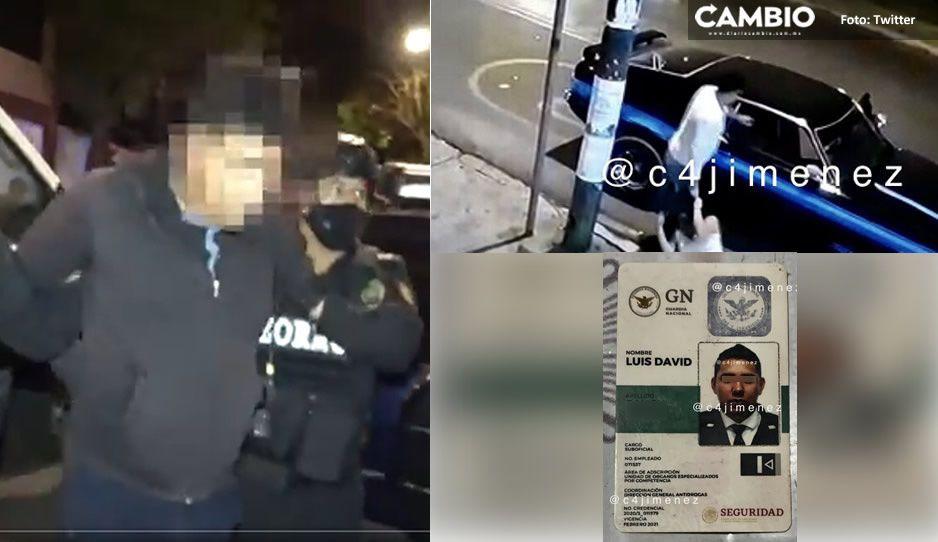VIDEO: Así detuvieron al golpeador de mujeres del Mustang, elemento de la Guardia Nacional