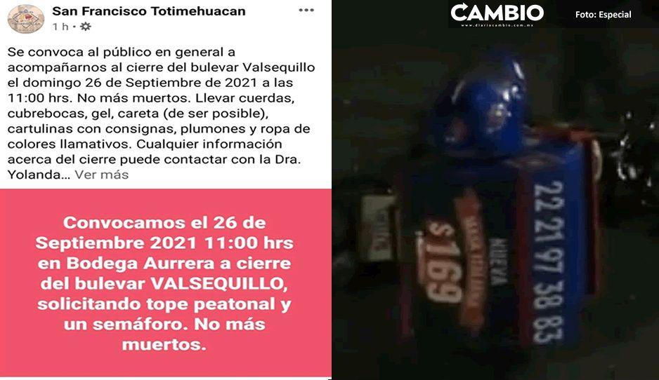Pobladores de Totimehuacan preparan cierre de Blvd Valsequillo tras muerte del repartidor de Domino´s