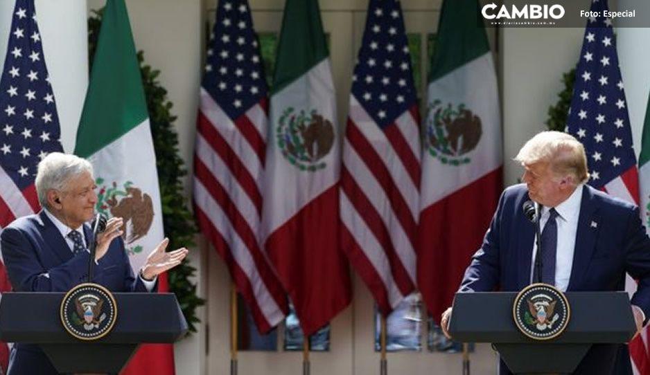 Frente al muro fronterizo, Trump agradece a AMLO por su colaboración en temas migratorios