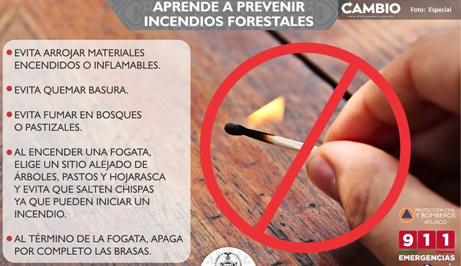 Protección Civil de Atlixco pide no quemar pastizales para prevenir incendios forestales