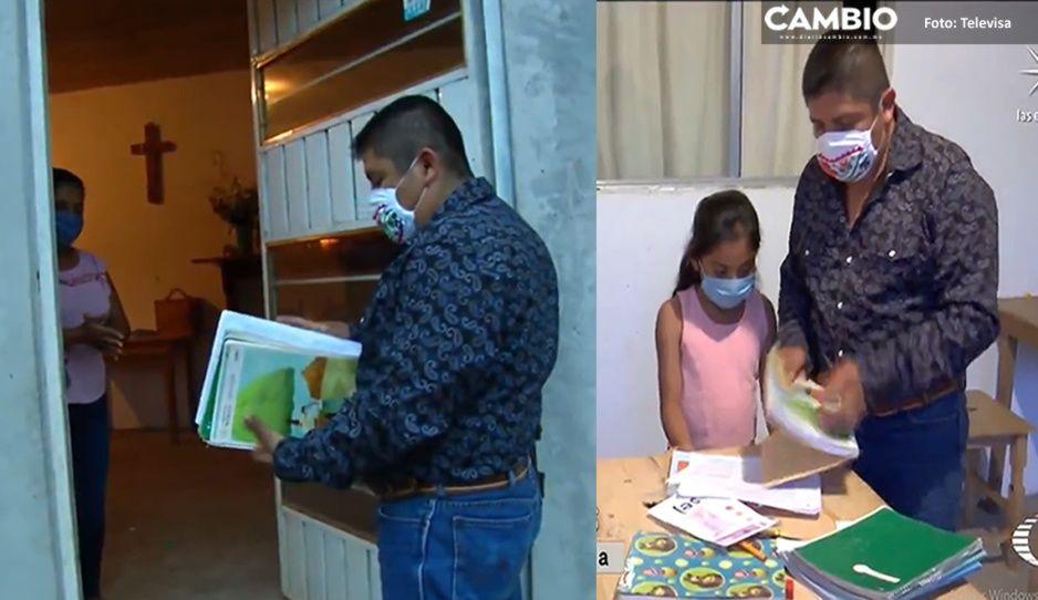 ¡Héroes sin capa! Maestros caminan horas para visitar a alumnos de la Sierra Norte de Puebla