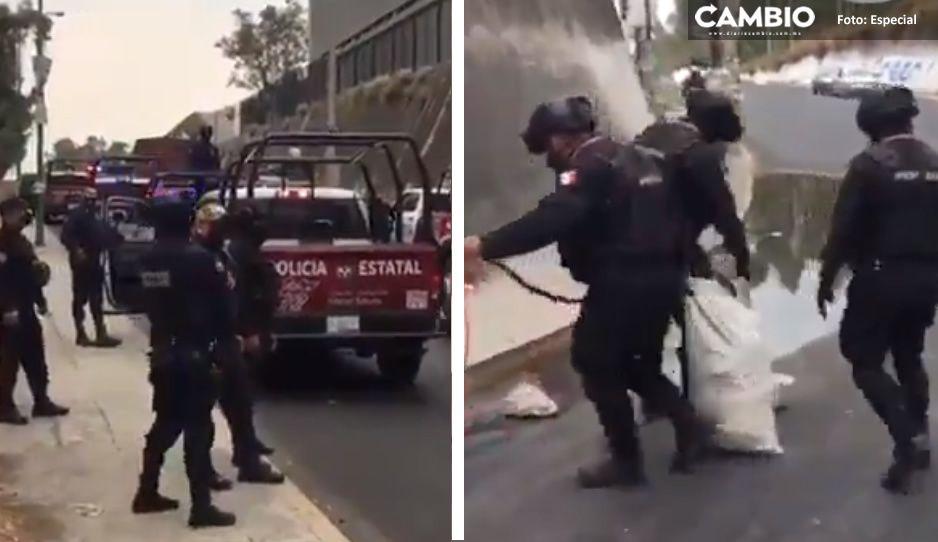 Intensa movilización de Policías y GN en Almecatla para liberar autopista México-Puebla