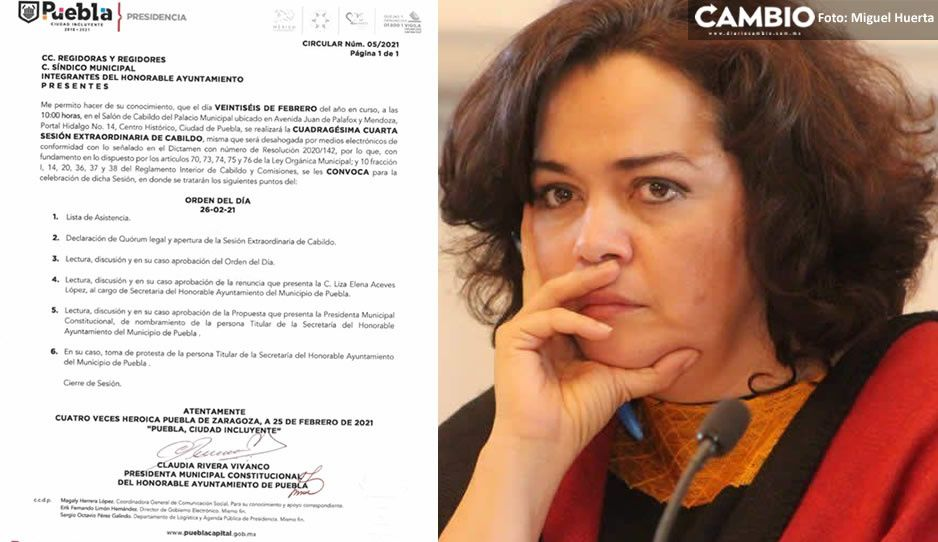 Desbandada en el ayuntamiento de Puebla; Liza Aceves y tres funcionarios presentarán su renuncia mañana