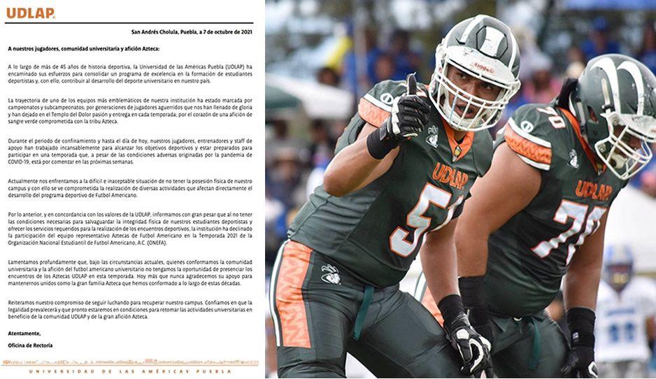 Problemas legales de la UDLAP llegan a los Aztecas: están fuera de la temporada 2021