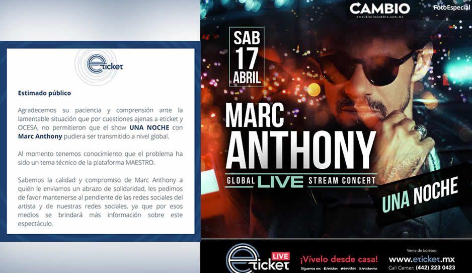 Fracasa primer concierto digital de Marc Anthony; cientos de fans se quedaron sin verlo