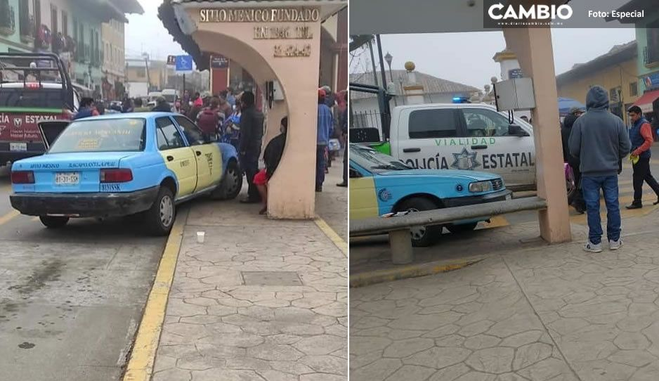 ¡Irresponsables! Patrulla huye tras chocar contra taxi en Zacapoaxtla