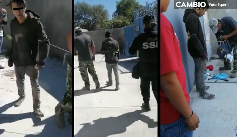 ¡Los amarraron como puercos! Vecinos golpean y entregan a ladrones de casas en Yehualtepec (VIDEO)