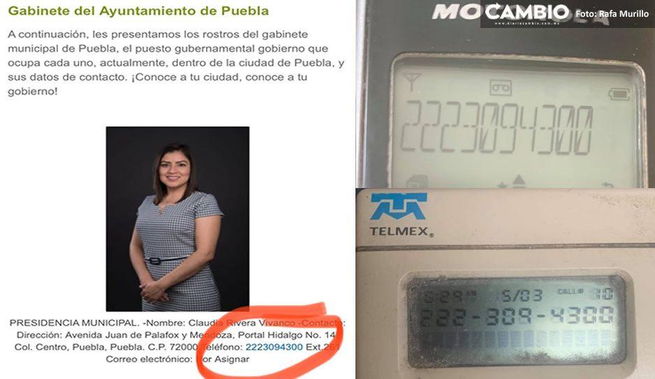 Número telefónico 2223094300 del que salieron las llamadas para promocionar a Claudia es del Ayuntamiento de Puebla
