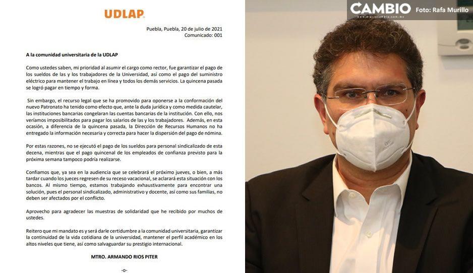 Cuentas de la Udlap están congeladas, no podrán pagar quincenas: Ríos Piter