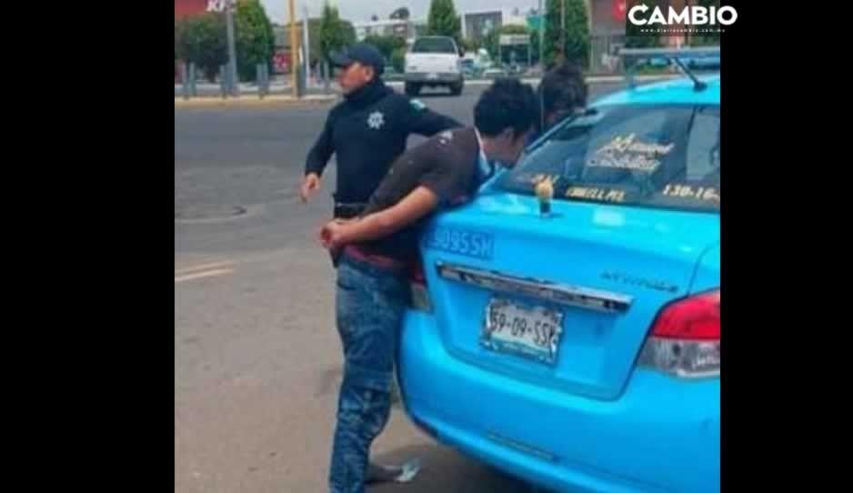 Pasajeros dan golpiza a ladrones en San Pedro Cholula