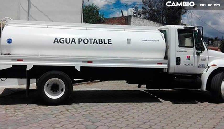 Gobierno de Puebla volverá a entregar pipas de agua en juntas auxiliares por tercera ola
