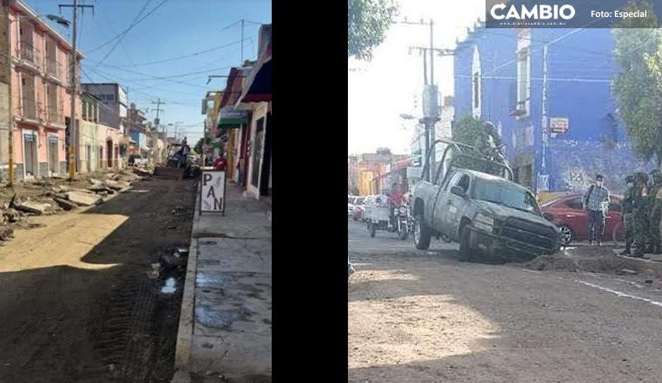 Nadie se salva del mal trabajo de Angélica Alvarado, militares caen a agujero en Huejotzingo