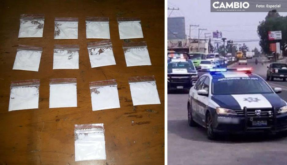 Con varias bolsitas de cocaína, caen dos jóvenes narcomenudistas en Texmelucan