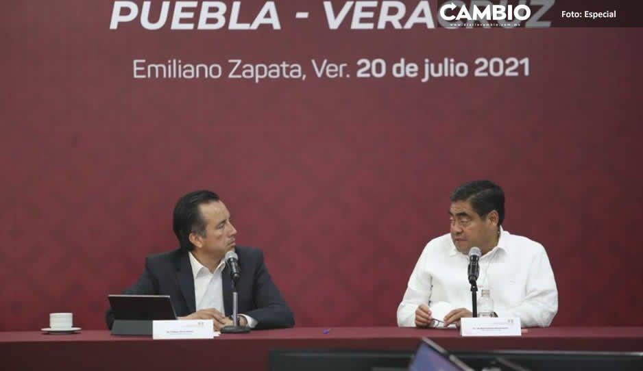 Pactan Miguel Barbosa y Cuitláhuac coordinación entre Puebla y Veracruz para mejorar seguridad