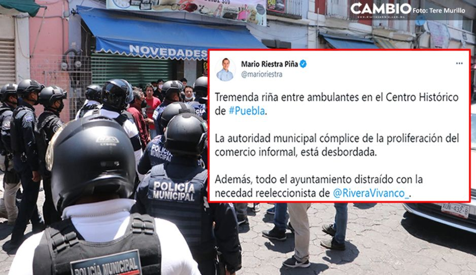 Lamenta Riestra mega trifulca de ambulantes en el Centro y responsabiliza Claudia (VIDEO)