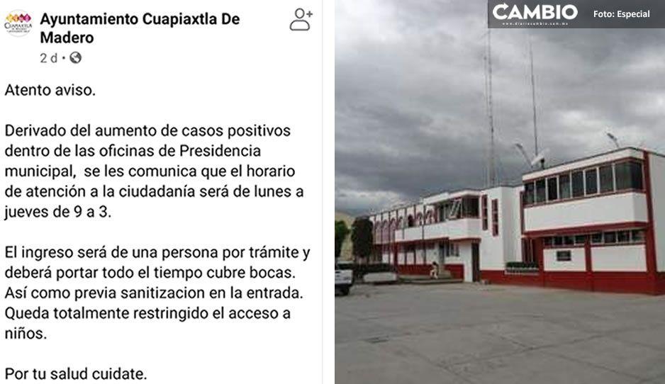 Ayuntamiento de Cuapiaxtla establece horario de atención en la presidencia ante contagios COVID