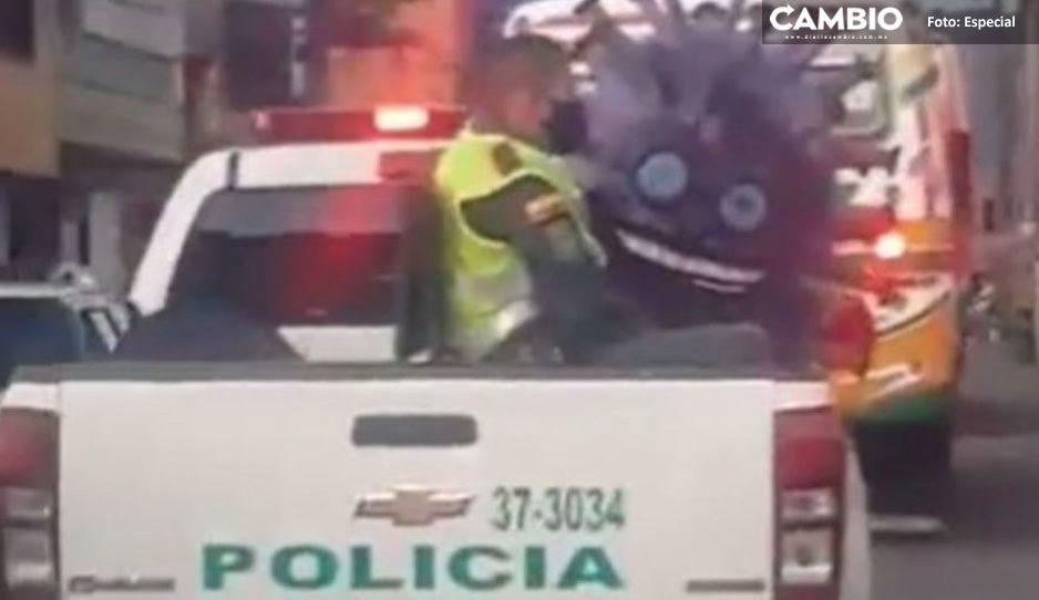 VIDEO: ¡Detienen a Covid-19! Policías de Colombia se llevaron al bicho a la cárcel