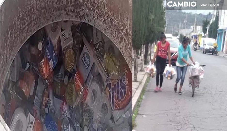 Tras detención de pipa, regalan despensas en casa del candidato de MC por Chalchicomula