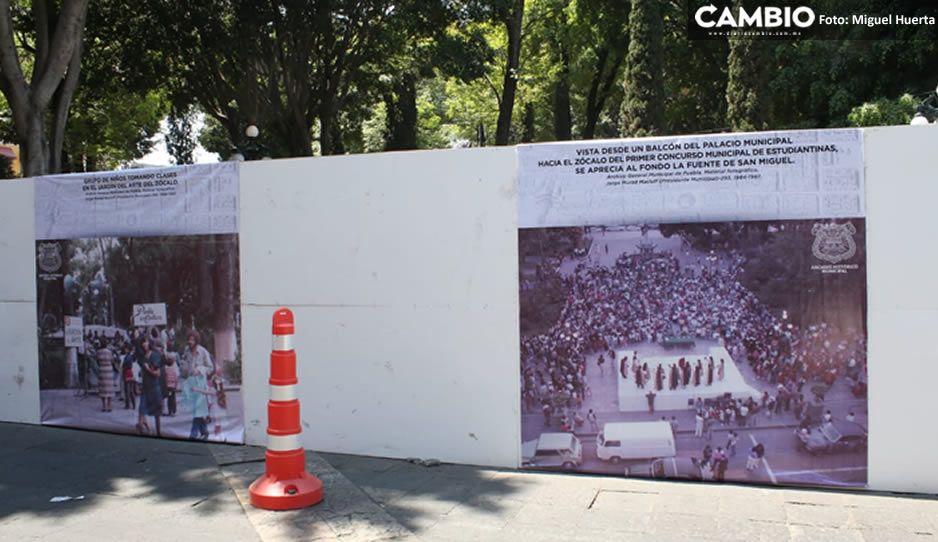 Tras CLAUsura del PRIANRD, Ayuntamiento coloca FOTOS de Puebla en el muro del Zócalo (VIDEO)